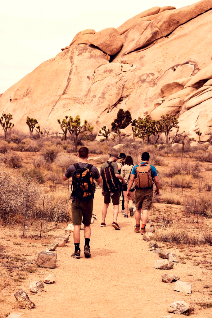 Group of backpackers walking through the desert.