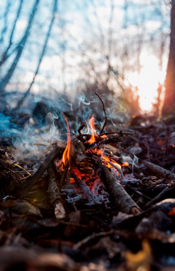 Small sticks lighting on fire.