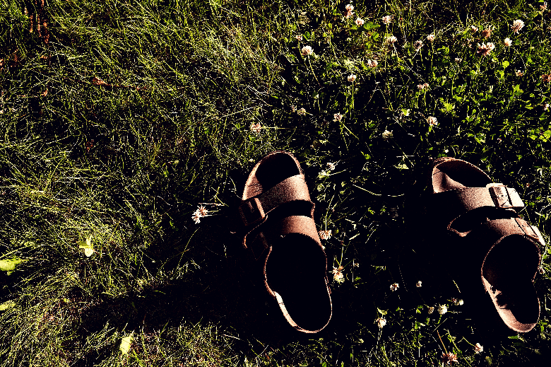 Pair of sandals sitting alone in the grass.