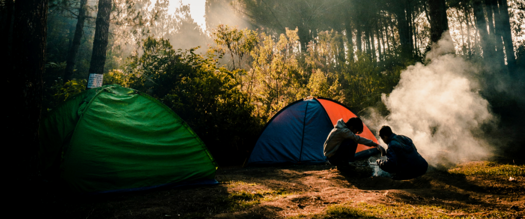 Pair of people cooking in the forest in front of 2 tents.