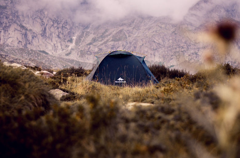 Tent sitting in the distance in grass near big mountains through bushes.