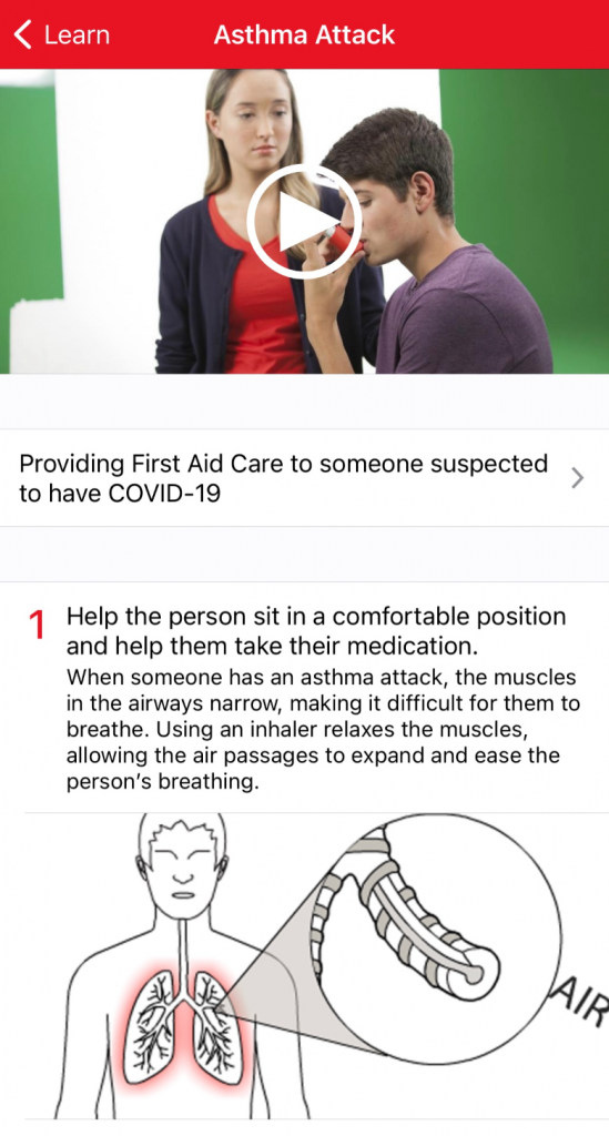 Red Cross First Aid app asthma page.