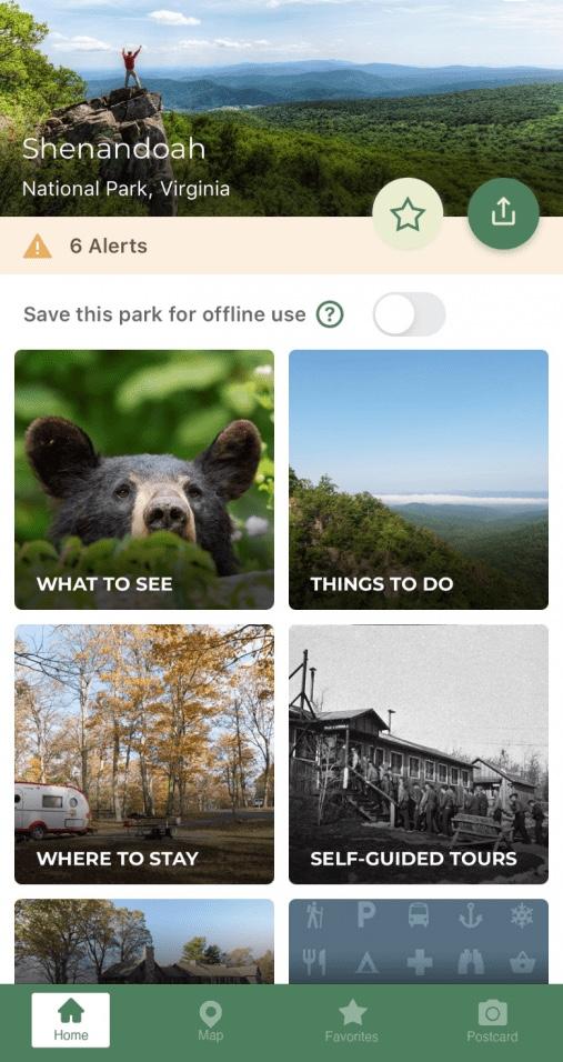 National Park Service app on the Shenandoah page.